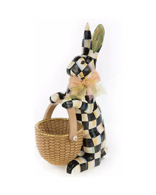 """MacKenzie Childs Courtly Check Rabbit Figure with Basket NIB 16"""" Tall"""