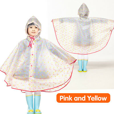 WATERPROOF EVA CHILDREN Raincoat Kids Poncho Transparent