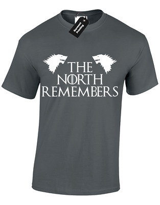 The North Remembers Mens T Shirt Game Of Jon Snow Stark King Queen Thrones Wolf