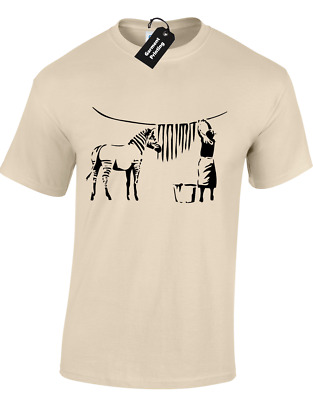 Zebra Banksy Mens T-Shirt Funny Graffiti Street Art Urban Classic Retro Design