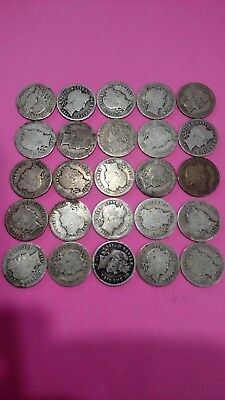 Barber  Dimes - Variety Of Dates - 25 Coin Lot. Free Shipping.