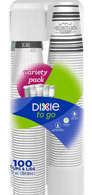 12 oz DIXIE PERFECT TOUCH PAPER HOT/COLD CUPS COMBO W/ LIDS ( 100 COUNT ) SFI
