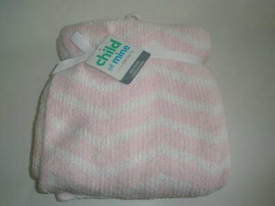 NWT Carters Child Of Mine Pink And White Chevron Striped Chenille Baby Blanket
