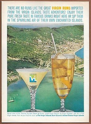 Virgin Rums St. Thomas Virgin Islands Single Page Magazine Print Ad 1962