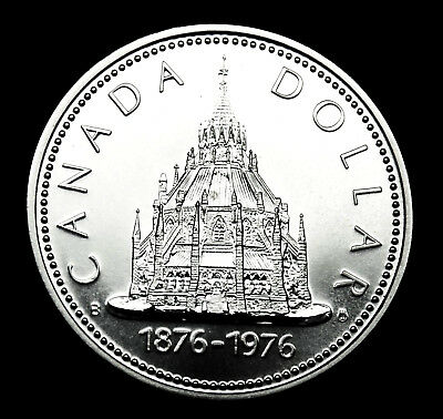 1976 Canadian silver $1 BU coin depicting the Library of Parliament