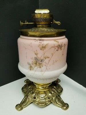 Antique Oil Lamp Base with Pink Overlay and Hand Painted Floral Motif