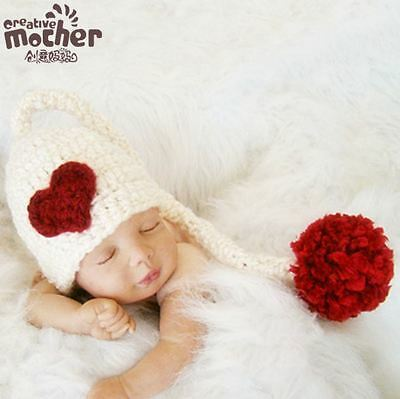 Baby Elf Hat Beanies Costume Knitted newborn Long Tail Crochet photography prop