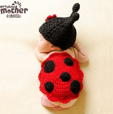 Newborn Infant Baby Crochet Ladybug Photography Props Costume Outfit