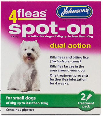 Johnsons 4 Fleas Spot On Dog 100mg - Small Dog 4kg up to 10kg