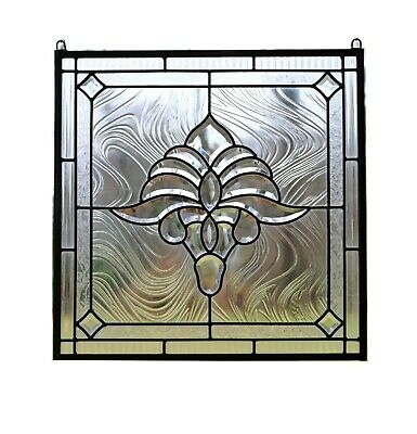 """Handcrafted stained glass Clear Beveled window panel 20.5"""" x 20.5"""""""