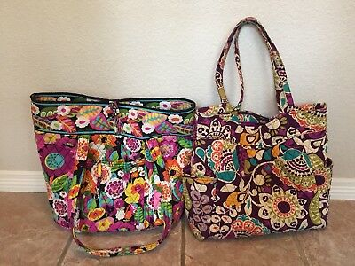 Lot Of Vera Bradley Totes Bags Grand & Pleated Used