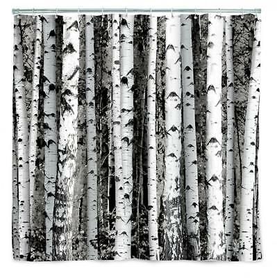 Birch Shower Curtain Forest Trees Cabin Bathroom Decor Country Rustic Woods New