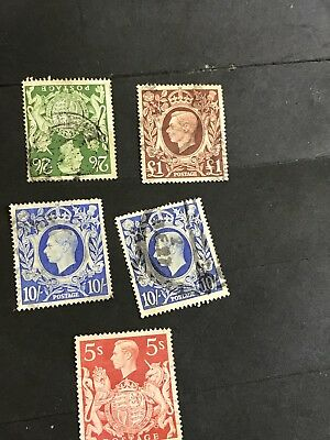 uk used postage stamps KGVI Up To One Pound  Stamp🐝🌴🦋 Lot
