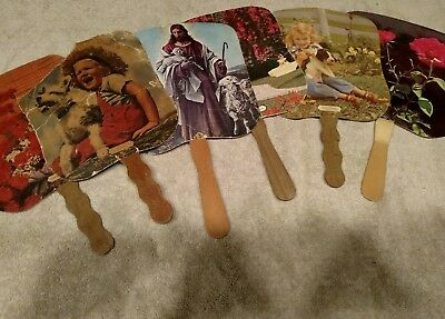 6 vintage advertising hand fans, from MD NY and PA.