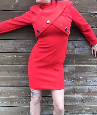 Women's Vintage 1980's LEAL Fitted Red Jewel Mini Dress High Neck Sexy Art Deco