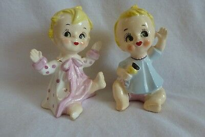 Vintage Baby Boy And Baby Girl Salt And Pepper Shakers  Gold Trim Adorable Japan