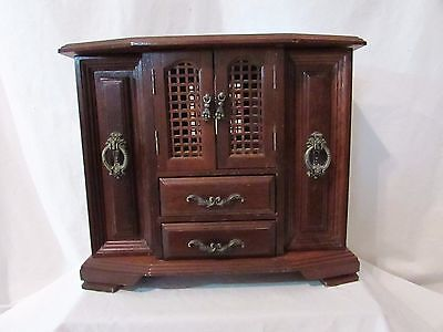 Vintage Wood Jewelry Case London Leather Lattice doors two hidden pull outs