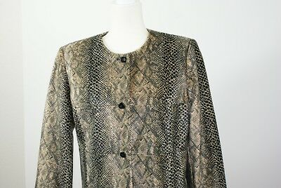 Harve Bernard 12 Black & Gold Faux Fur Python Snake Shiny Polyamide Skirt Suit