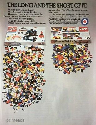 1982 LOC BLOCS and Lego Bricks  Comparison Kids Toys Vintage PRINT AD