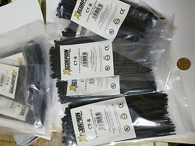 "1000 Pack 8"" Blck Zip Ties/Cable Ties Heavy Duty Nylon UV Resistant UL Scorpion"