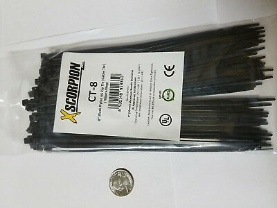 "100 Pack 8"" Black Zip Ties/Cable Ties Heavy Duty Nylon UV Resistant UL Scorpion"
