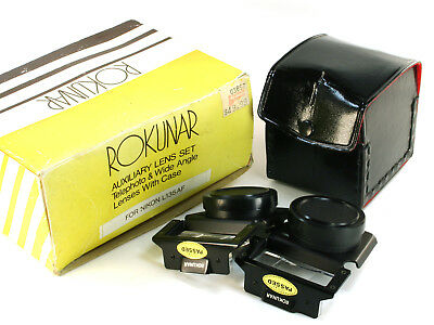 Rokunar Auxiliary Lens Set Telephoto & Wide Angle Lens for AF 35mm Cameras