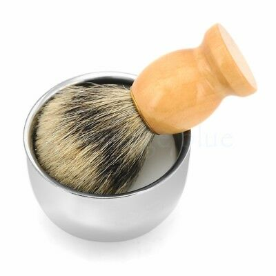 Best Badger Hair Shaving Brush Shave Razor Stainless Steel Bowl Mug W/Free Soap