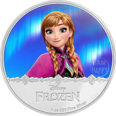 1 oz Frozen - Anna Finished in 18k White Gold Coin/Medallion