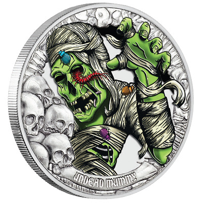"1 oz Tales From The Crypt ""Undead Mummy"" Finished in 18k White Gold Coin"