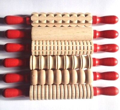 6 Wooden Rolling Pins. Play Dough - Fun Dough Play Tools Accessories. Play doh