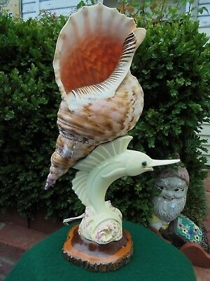 RETRO AUSTRALIAN POTTERY & TRUMPET SEA SHELL MULGA WOOD BASE LAMP WORKING 45cm