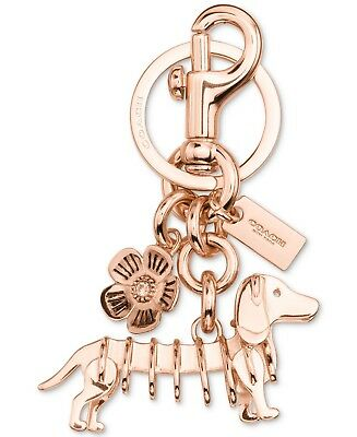 $85 Coach Dachshund  Charm Key Ring dog leash clip  Rose Gold Metal  22951 Sale