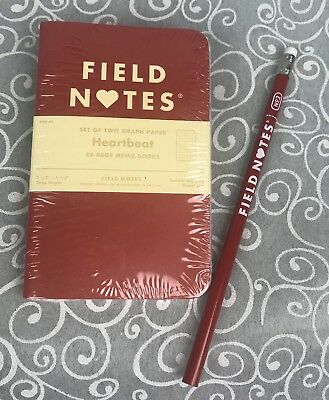 Field Notes 2018 Heartbeat Valentines Day Exclusive & Pencil Red Heart Graph