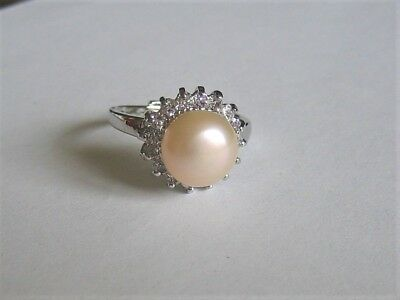 Beautiful Genuine 9-10 mm Pink Freshwater Pearl and Simulated Diamond Ring