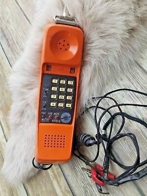 Metro Tel MT-911-G Lineman test phone. Complete with ABN clips. Orange in color