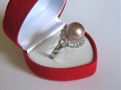 Beautiful Genuine 9-10 mm Lavender Freshwater Pearl and Simulated Diamond Ring