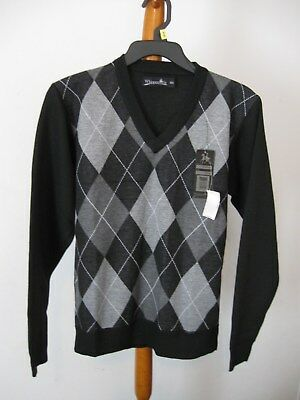NWT Boys Whipper In Long Sleeve Argyle V-Neck Sweater Size 14/16 Black/Gray J3