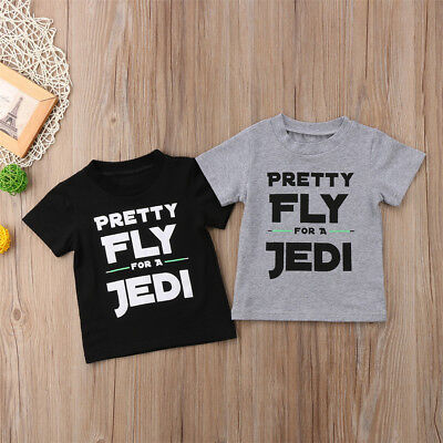 Infant Kids Baby Boys Cotton JEDI Short Sleeve Tops T-shirt Tee Shirts Clothes