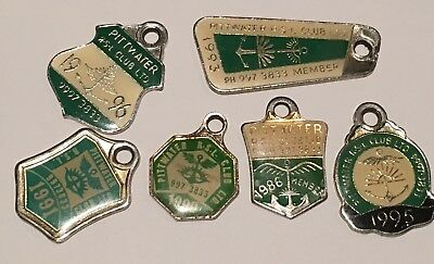 Six (6) Pittwater RSL Club Members Badges 1986 , 90,91,93,95&96