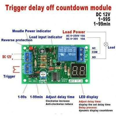 DC12V LED Display Countdown Timing Timer Delay Turn OFF Relay Switch Modul
