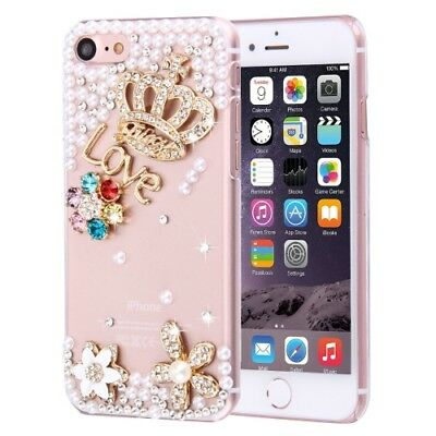 Pochette de protection iPhone 8 & 7 Diamant couronne Love pierres Strass