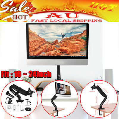 Single Arm HD LED Desk Mount Monitor Stand 1 Display Screen TV Holder Gas Spring