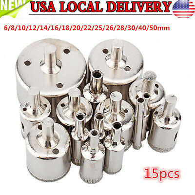 15pcs 6mm-50mm Diamond Tool Drill Bits Hole Saw Set Glass Ceramic Marble Tiles