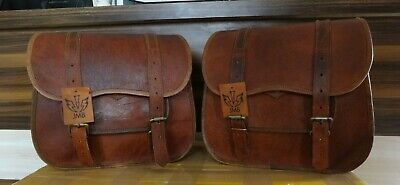 2 Bags Side Pouch Brown Leather  Saddlebags Saddle Panniers For Motorcycle Bags