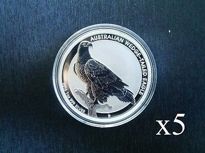 2016 Perth Mint 1oz Silver Wedge Tailed Eagle Bullion Coin x 5 (5 coins total)