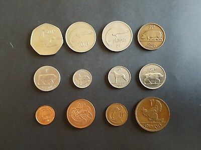 12 Old Irish Coins Complete Set Of Decimal Issue