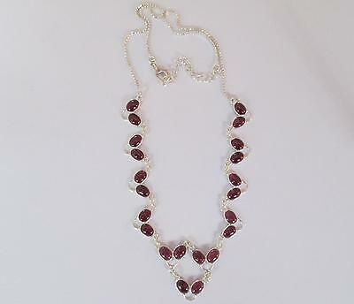 FREE P&P!!! Beautiful HAND MADE 20cts 22 Gems GARNET  Sterling Silver NECKLACE