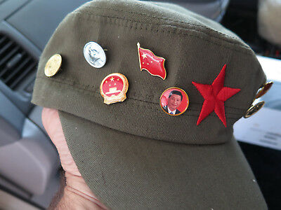 China Chinese Peoples Republic Communist Hat With Presidents Mao tse tung & Xi J