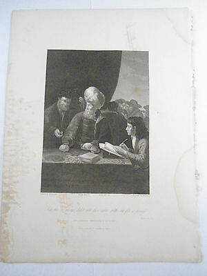 MATT 20:13 ETCHING RELIGIOUS PICTURE Original Engraved Fisher Son London BIBLE