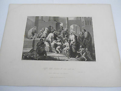 LUKE 18:16 ETCHING RELIGIOUS PICTURE Original Engraved Fisher Son London BIBLE